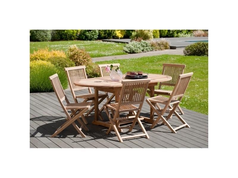 Ensemble de jardin en teck avec 1 table ovale extensible et 6 chaises ...