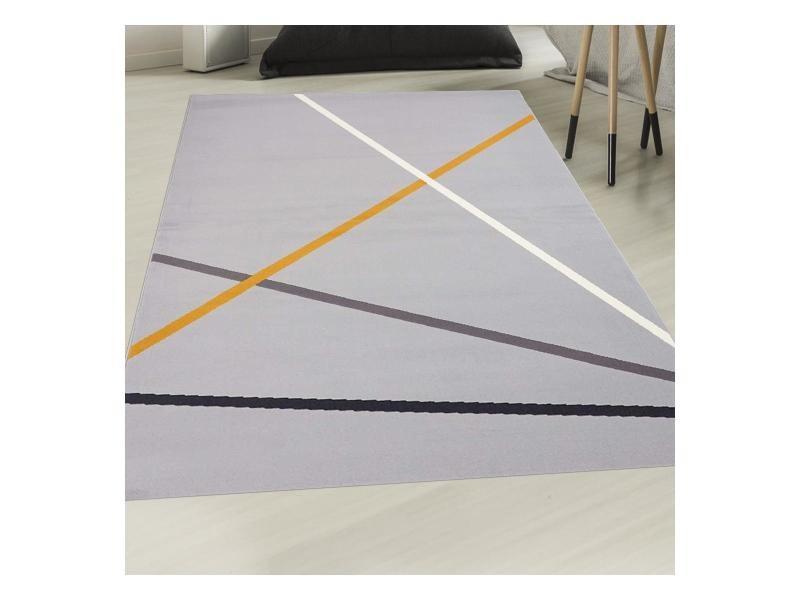 Tapis moderne pour salon af moya gris, orange, blanc 120 x ...