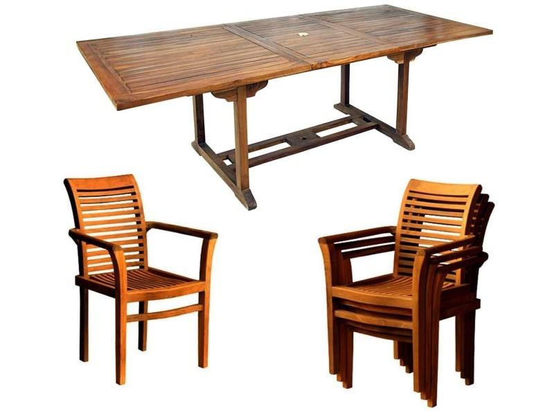 Salon jardin en teck huilé livré avec 8 fauteuils - Vente de ...