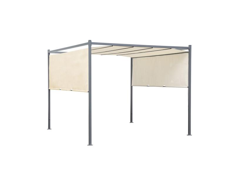 Tonnelle/pergola acier 3x3m toile coulissante - tente de jardin gris ...