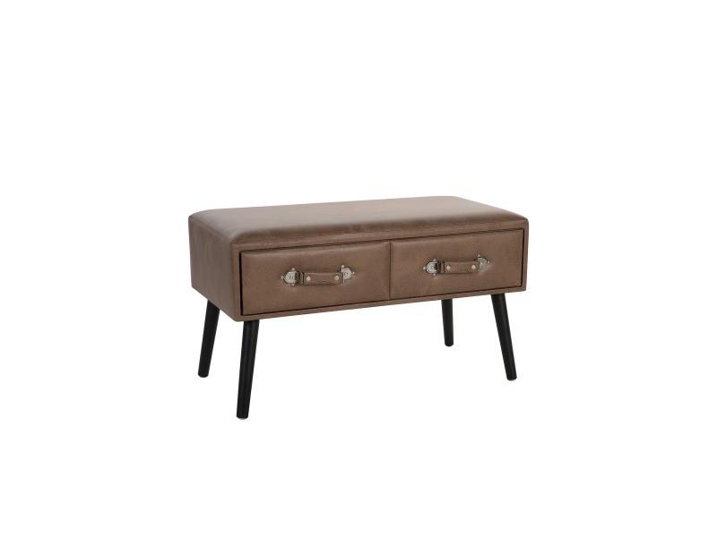 Table basse en simili-cuir marron amtrak 124349