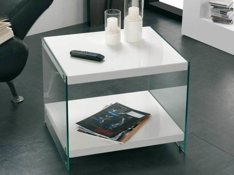 Table d'appoint rectangulaire laqué blanc piètement verre - l55xl4 antic