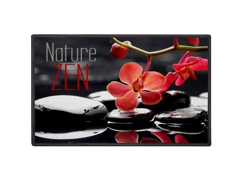 Tapis déco zen salle de bain cuisine fleur rose galet noir nature ...