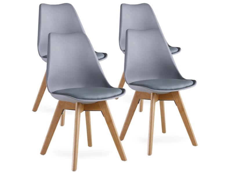 Lot de 4 chaises scandinaves grises lorenzo - assise rembourrée