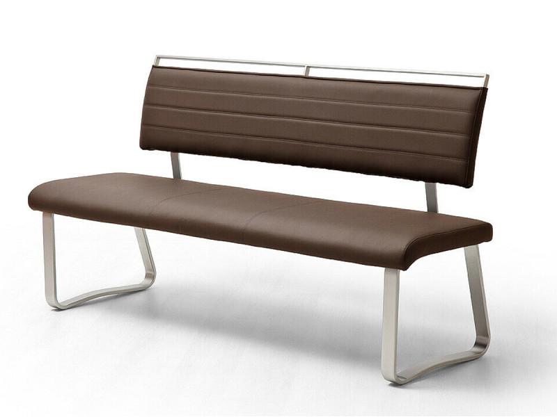 Banc de salle à manger en métal et simili cuir coloris marron - longueur 155 x hauteur 93 x profondeur 59 cm -pegane-