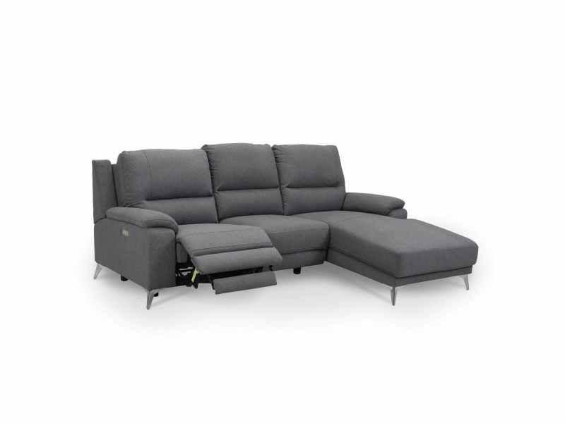 Canapé d'angle relax électrique en tissu gris chloé