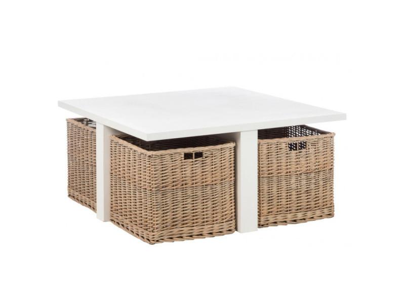 Table de salon bois blanc carree + 4 paniers 82472