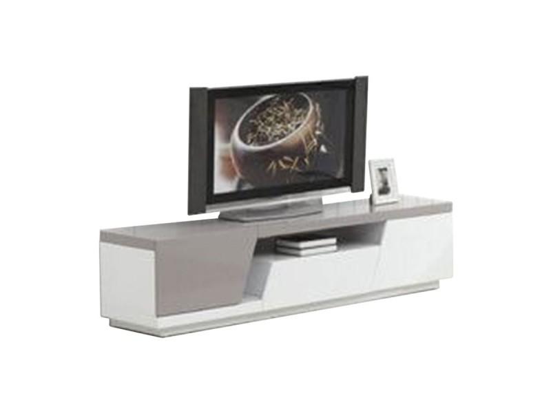 Meuble tv laqué siana - blanc / taupe