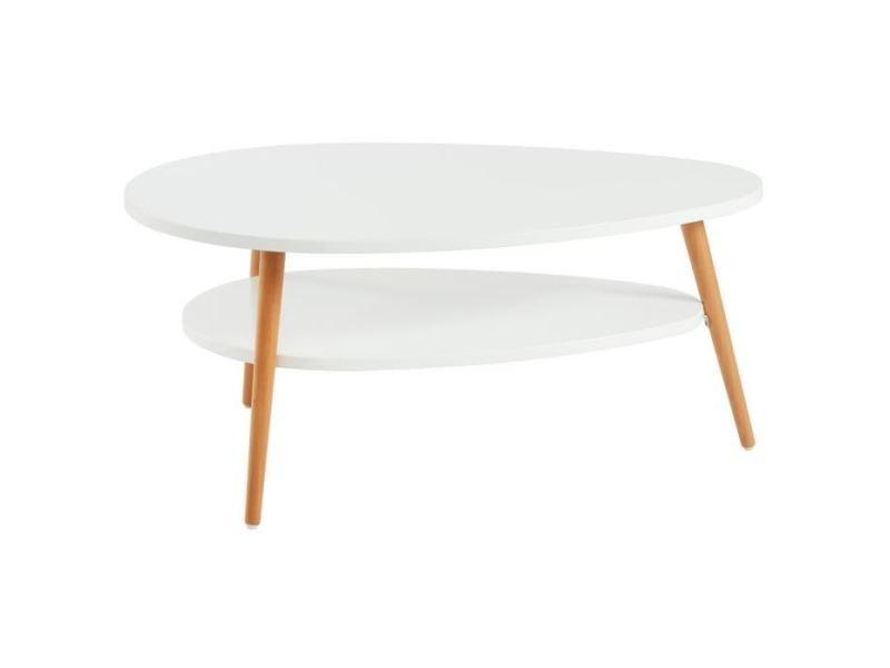 Table basse stone table basse ovale scandinave - blanc laqué mat - l 90 x l 60 cm
