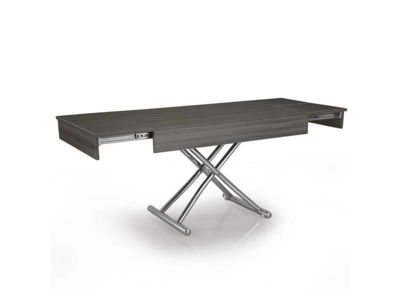 Table basse relevable cube ch ne gris extensible 10 - Table basse relevable extensible conforama ...