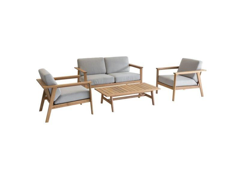 Salon de jardin estiva - 4 places - couleur bois clair ...