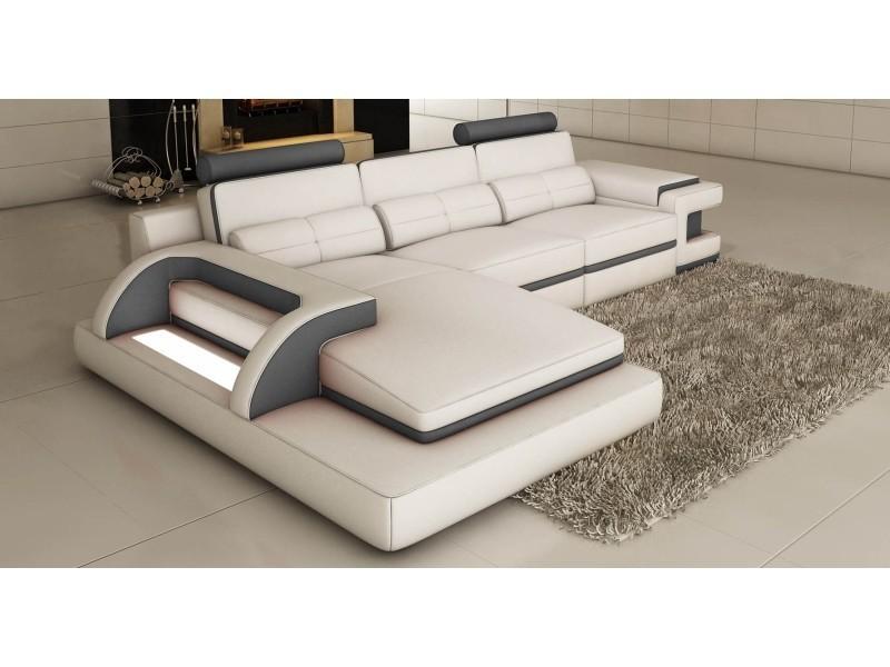 Canapé d'angle cuir blanc et gris design avec lumière ibiza (angle gauche)-