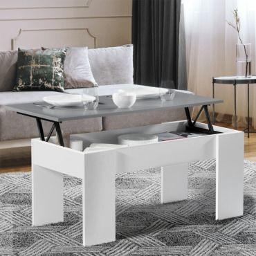 Table basse avec plateau relevable bois blanc et gris - Table basse conforama blanche ...