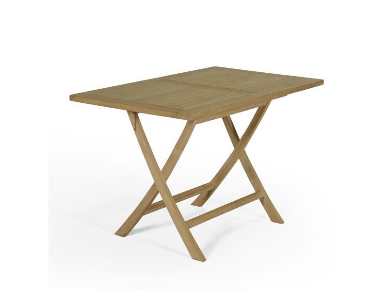 Table de jardin en teck pliable 120 x 70 cm - kensaï Teck ...