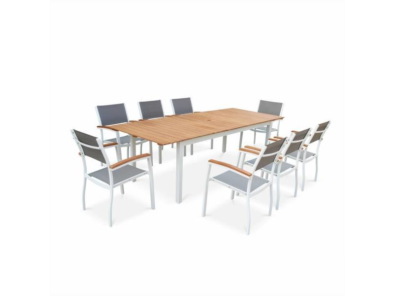 Salon de jardin en bois et aluminium sevilla, grande table ...