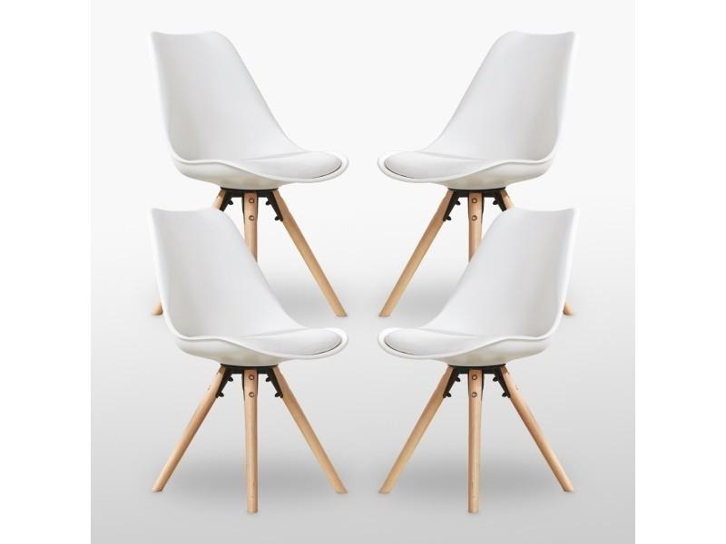 Lot de 4 chaises scandinaves blanches sophie rembourrées