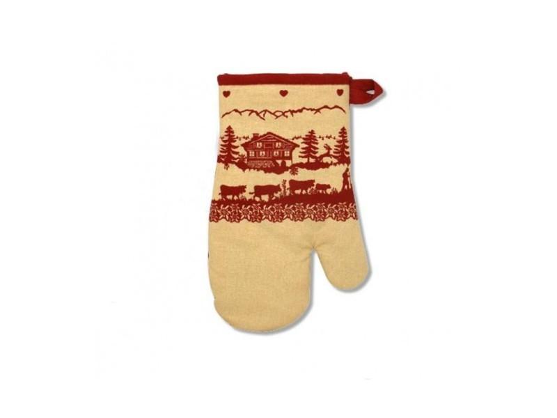 gant de cuisine anti chaleur Gant de cuisine anti chaleur beige et rouge montagne poya