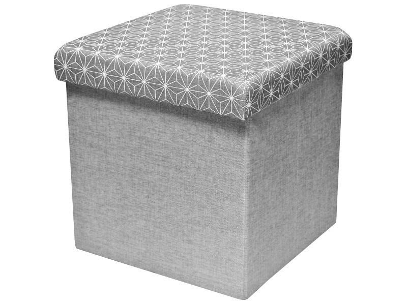 Pouf tabouret coffre de rangement assise molletonné scandinave argenté 38x38x38cm