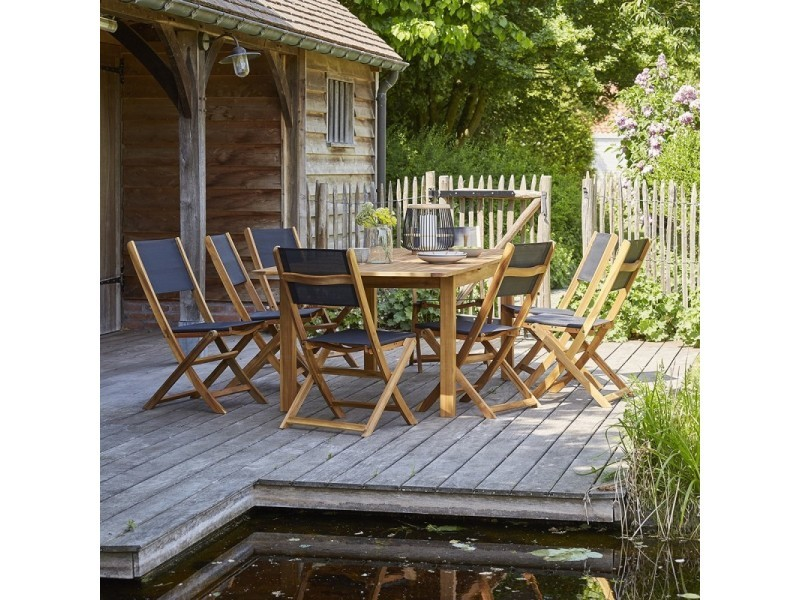 Salon de jardin en bois d\'acacia fsc extensible 8 à 10 ...