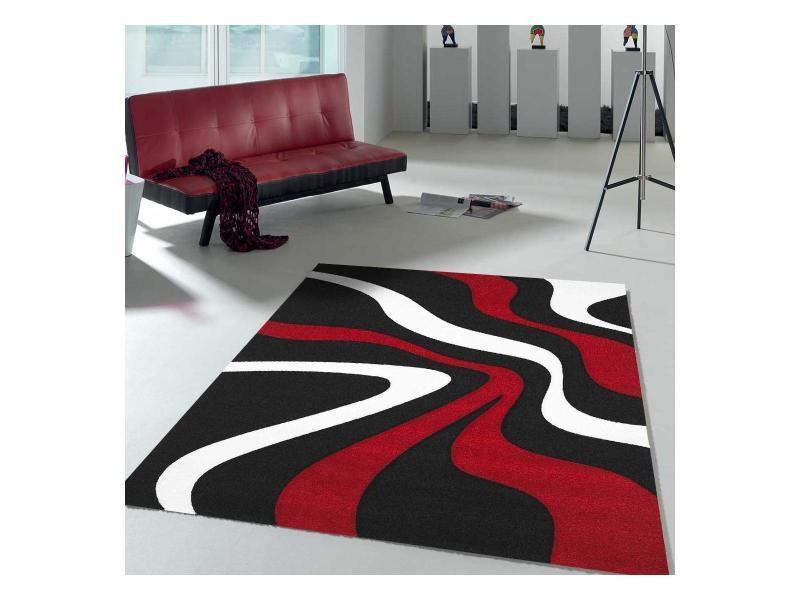 Tapis tendance pour la chambre nodage rouge, blanc, noir 80 ...