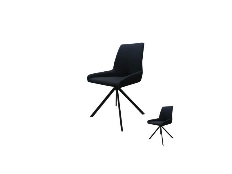 Duo de chaises bois/tissu noir - forest - l 48 x l 58 x h 89 - neuf
