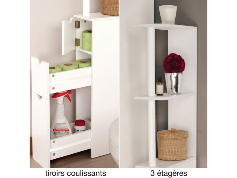 Meuble Wc Etagere Bois 3 Portes Blanc Gain De Place Pour