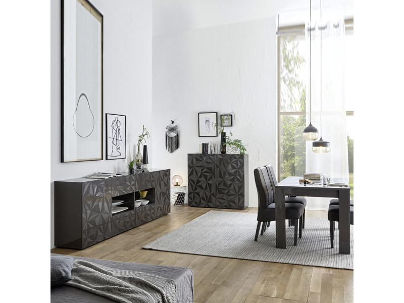 Salle à manger gris laqué enfilade + table design paolo 3 - Vente de ...