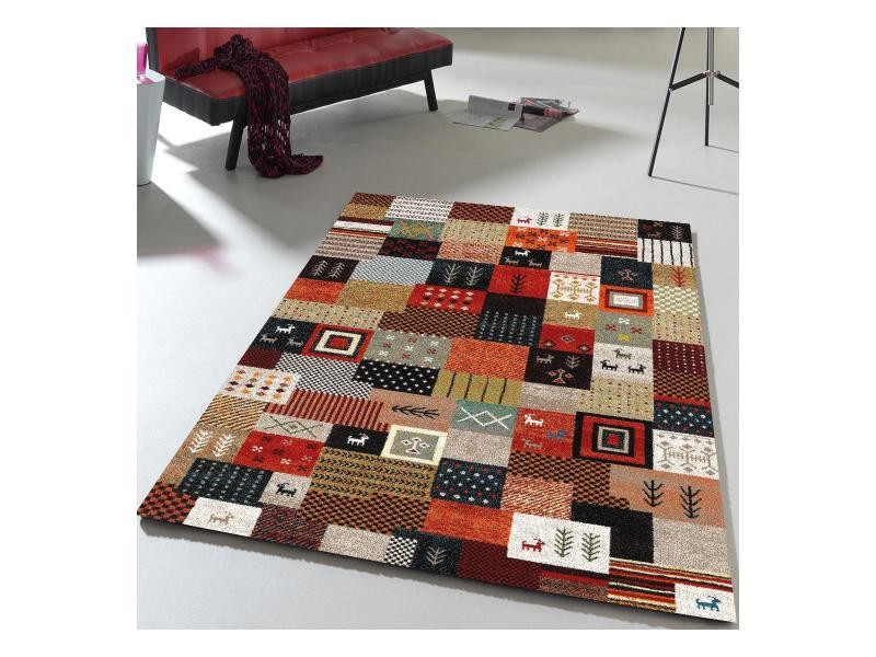 Tapis inspi orient moderne et design ethno 816 rouge, noir, marron ...