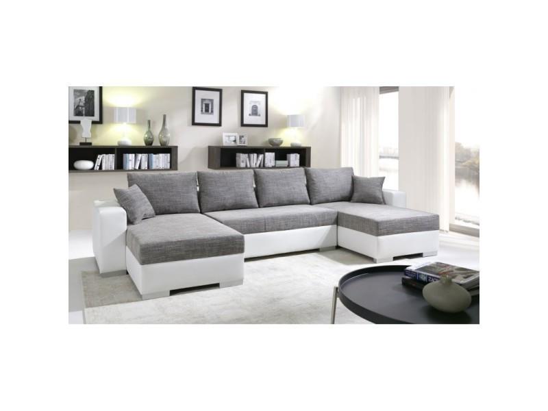 Canapé d'angle convertible enno tissu gris et simili cuir blanc TENDENCIO