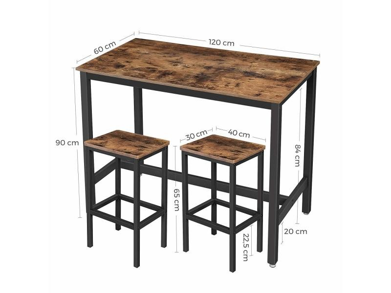 Lot Table Et Chaises De Bar Table Haute Avec 2 Tabourets De Style