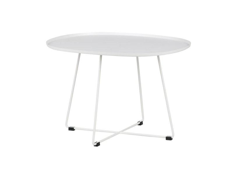 Table basse design minimaliste ovale métal blanc siho 378641-W
