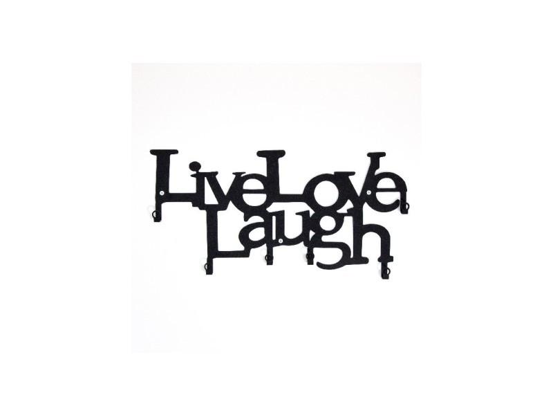Homemania porte-manteau vivre, aimer, rire - phrases - avec crochets - décoration murale, art mural, mur - de l'entrée, du couloir - noir en métal, 46 x 2 x 27 cm
