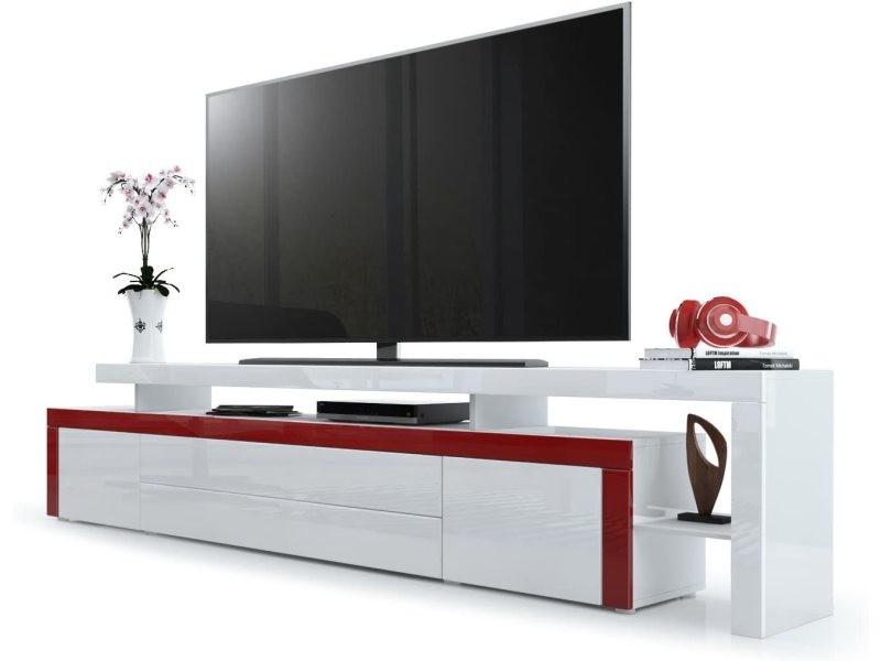 Meuble tv laqué bordeaux / blanc 227 cm
