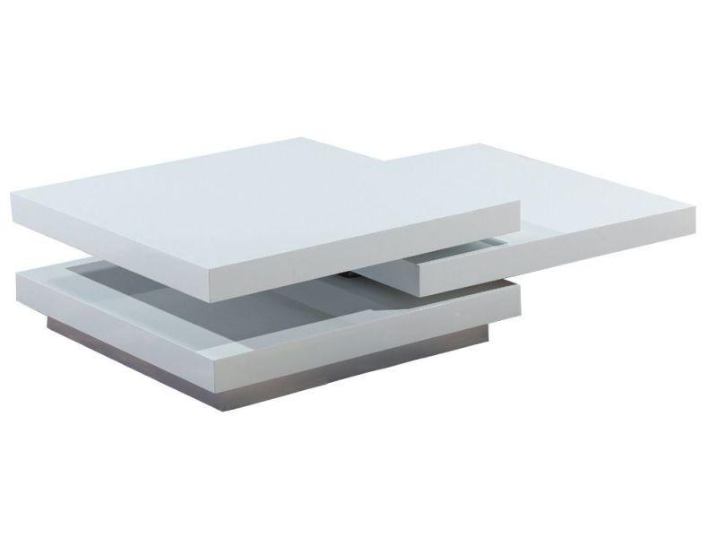 Table basse carrée en mdf avec 3 plateaux pivotants coloris blanc ...