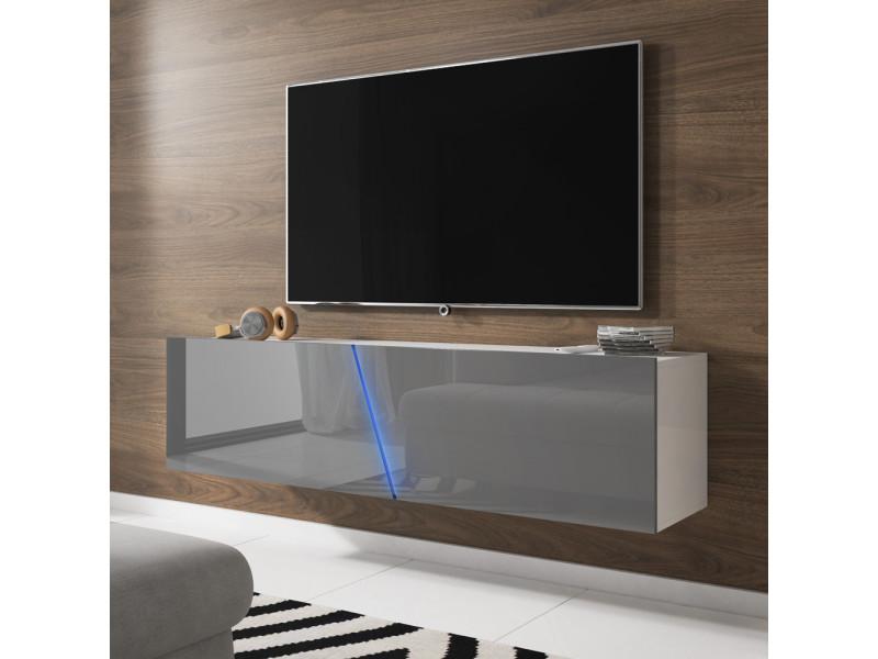 Meuble Tv Suspendu Alamara 160 Cm Blanc Mat Gris