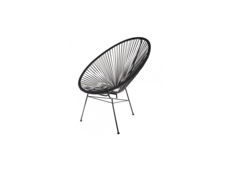fauteuil acapulco noir - vente de la chaise longue - conforama