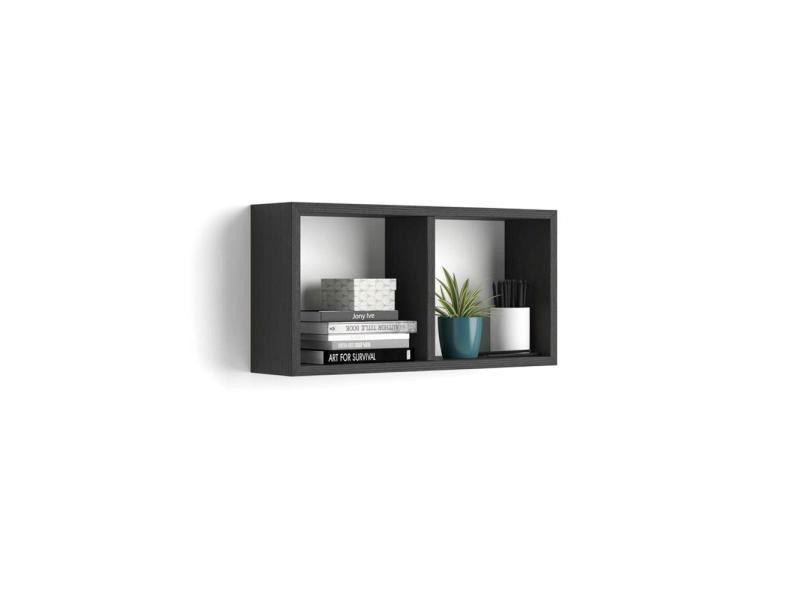 Mobili fiver, cube mural 59x30 cm, first, en mélaminé, frêne noir, made in italy