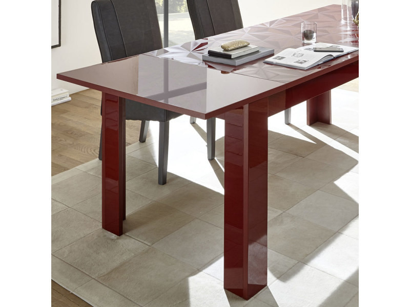 Table Salle A Manger Extensible Rouge Laque Design Paolo 2