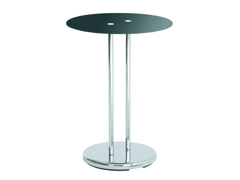 Table d'appoint chromé-noir en tube d'acier chromé, h55 x d40 cm
