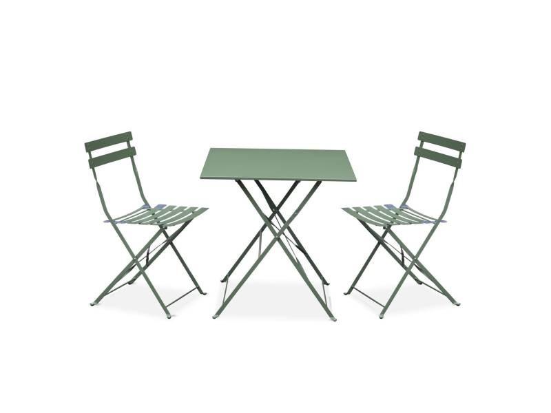 Salon de jardin bistrot pliable emilia carré vert de gris, avec deux ...