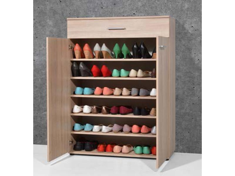 Armoire Meuble A Chaussures Chene Sonoma Avec 2 Portes Et 1 Tiroir L 89 X H 120 X P 37 Cm Pegane Vente De Meuble A Chaussures Conforama