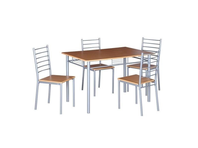 Table De Cuisine Et Salle A Manger 4 Chaises Ankara Coloris Bois