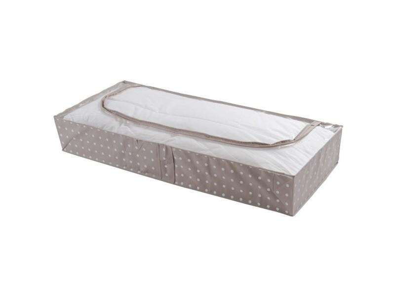 Housse extra plat rangement couette fibre intissée/polypropylène beige pois blanc 107 x 46 x 16 cm