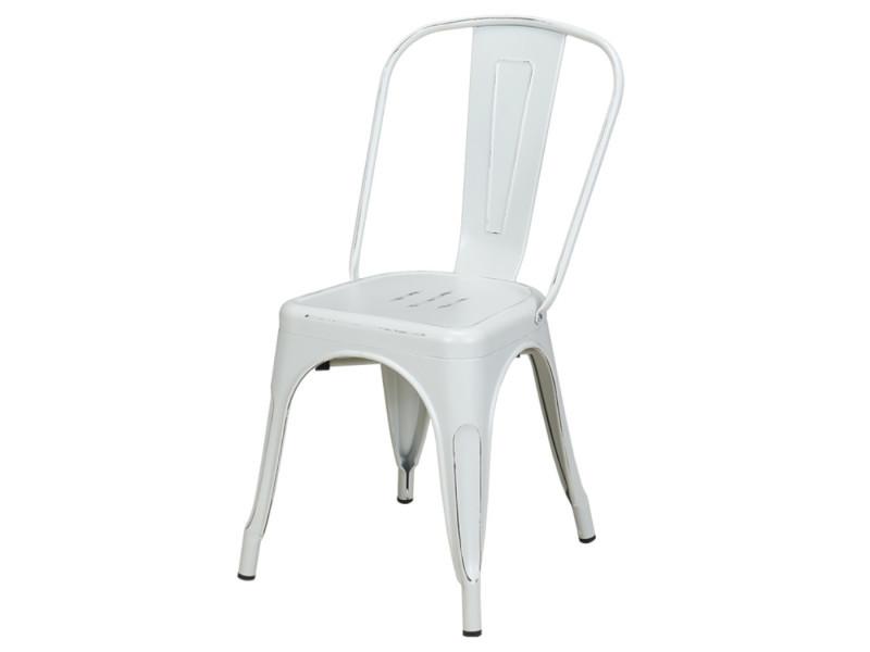Duhome 1x Chaise De Salle A Manger En Fer Metal Look Use Blanc