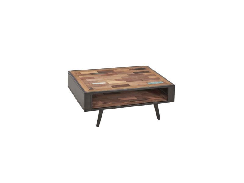 Table basse en bois double plateau - manhattan - l 100 x l 70 x h 40 - neuf