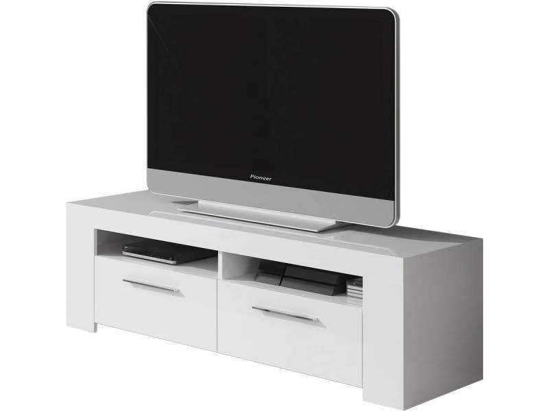 Meuble tv ambre 120 x 42 x 37 cm blanc brillant Meuble tv habitat