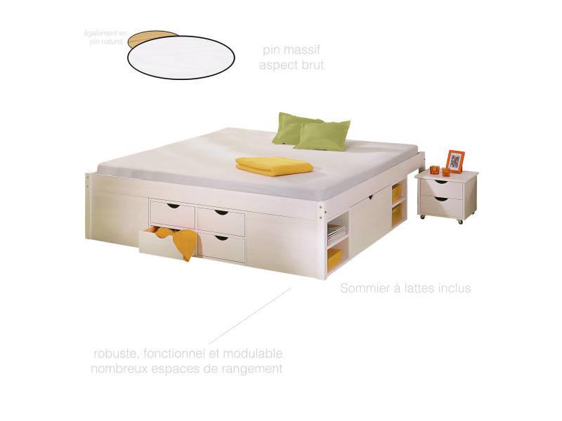 lit double 160x200 cm pour adulte avec tiroirs gain de. Black Bedroom Furniture Sets. Home Design Ideas