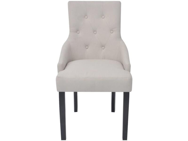 Vidaxl chaises de salle à manger 2 pcs crème tissu