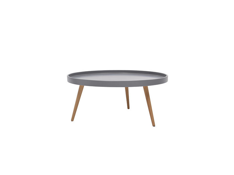 Nordic table basse ronde scandinave laquée gris + pieds en bois hetre massif - ø 80 cm