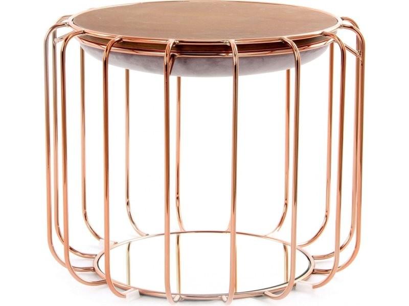 Pouf reverse table d'appoint confortable copper NBLSY